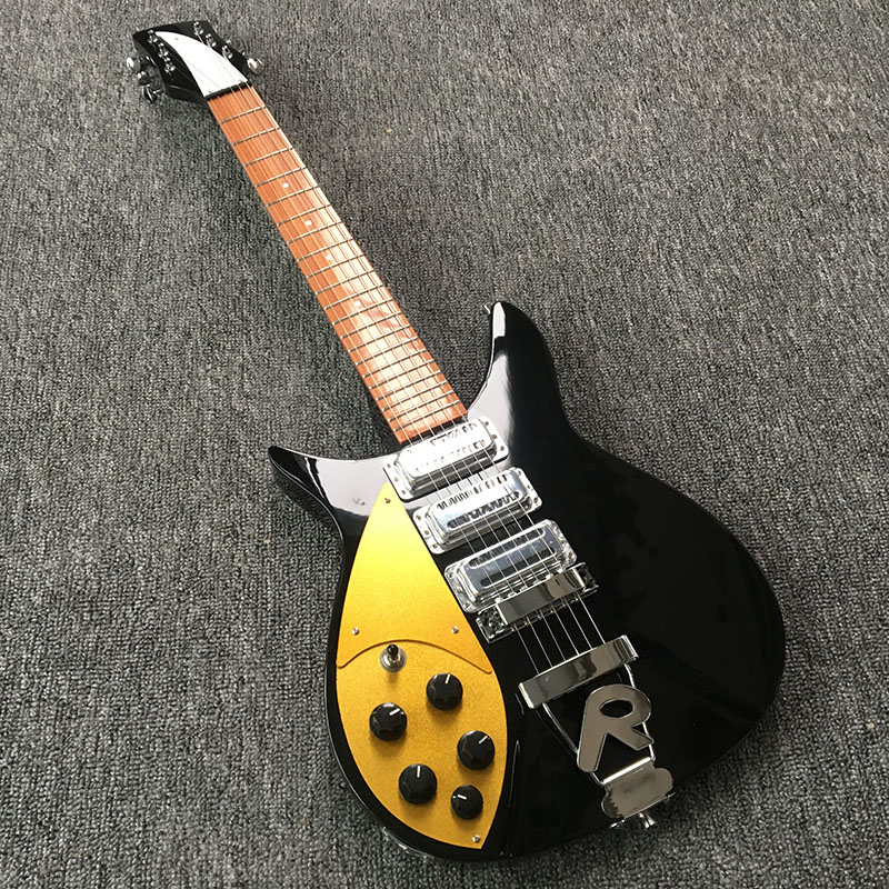 Left hand 325 electric guitar standard size fingerboard has glossy paint Black accessories Real photos free