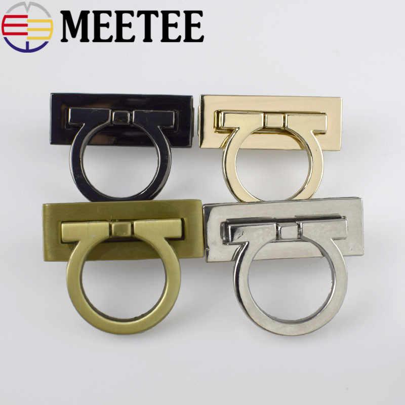 Meeتي 2 قطعة قفل معدني بدوره تويست قفل إغلاق لحقيبة يد Buckles DIY بها بنفسك الجلود الحرفية حقيبة الأجهزة استبدال الملحقات E6-8