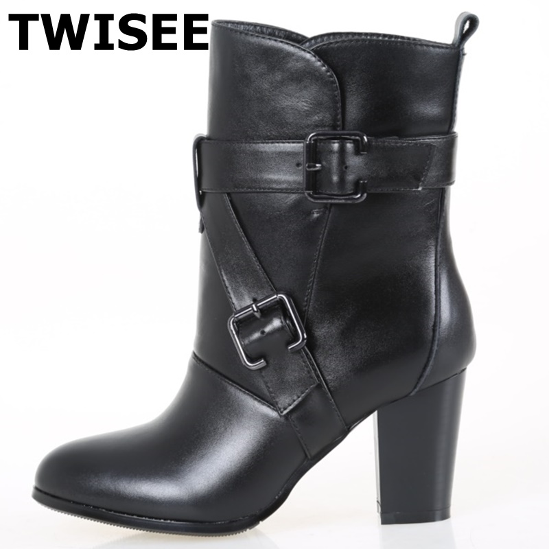 TWISEE Round Toe Handmade Buckle Women Boots Spring/Autumn zip high heels 7cm Ankle Boots black RED Genuine Leather Ladies Shoes european style autumn genuine leather fashion ankle boots round toe zipper belt buckle high heels motorcycle boots women boots