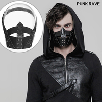 Gothic Classic black rivets Elastic rubber MASK Steampunk Men fashion composite pu leather cool fish mouth MASK Punk Rave S 254