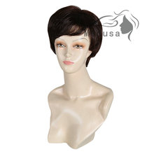 Medusa hair products: Synthetic pastel wigs for women Chic pixie cut styles Short straight Mix color wig with bangs SW0132A