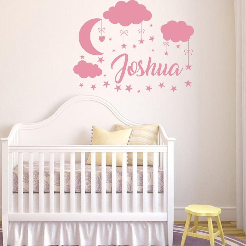 custom name wall decal boy girl clouds nursery decals moon decal