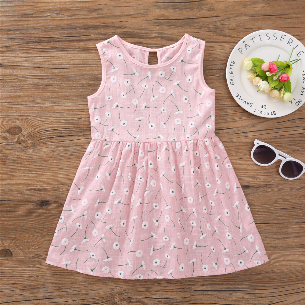 HTB1jar6acfrK1Rjy1Xdq6yemFXa7 Kids Dresses for Girls Summer Girl Sleeveless Dress Toddler Flower Print Princess Dress 1 2 3 4 5 6 7 Years Children's Clothing