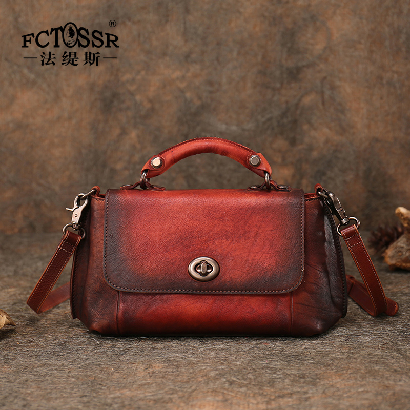 Retro Genuine Leather Women s Bag Original Handmade Leather Shoulder Bag Soft Leather Hasp Messenger Bag