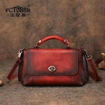 Retro Genuine Leather Women's Bag Original Handmade Leather Shoulder Bag Soft Leather Hasp Messenger Bag Female Saddle Handbag - DISCOUNT ITEM  52% OFF All Category