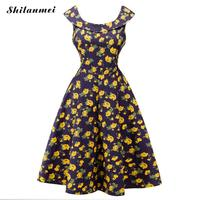 Womens Sleeveless Vintage 50s 60s Hepburn Style Retro Printing Formal Birds Garden Tea Elegant Casual Party