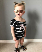 Lovely Baby Girls Summer Rompers Short Sleeve Striped One Shoulder New Chic Playsuit Fashion Clothes Outfit(China)