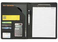 Meeting Conference PU Leather Folder, Office business Document Folders. A4 File Folder with 12 digital Calculator Black Brown