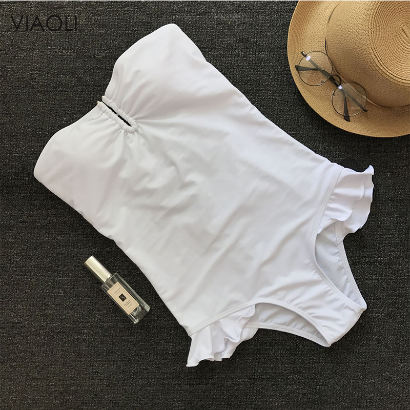 Solid Color One-piece Swimsuit Back Bandage Design Swimsuit 2018 New Women Swimwear Sexy Bathing Suit Pants Waist Ruffle White