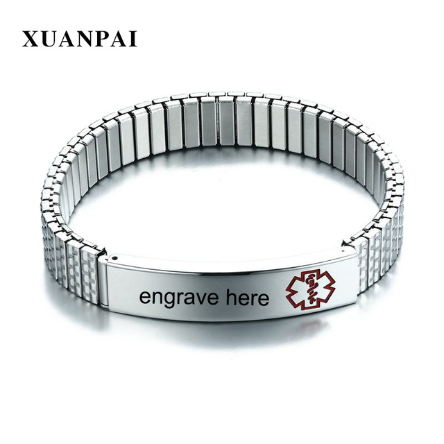 Xuanpai Can Open Free Personalize Engraving Medical Alert Id Bracelet For Women Men Stainless Steel Uni