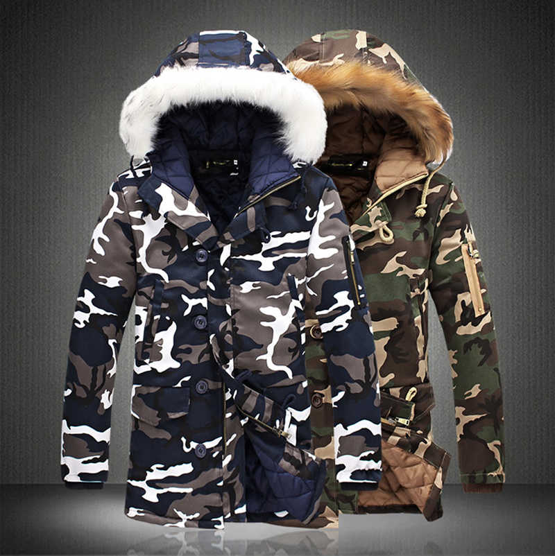 4c1755c460f64 Detail Feedback Questions about Fashion Camouflage Parkas Mens Military  Medium long Winter Coat Thickening Cotton padded Winter Jacket Men With Fur  Hood on ...
