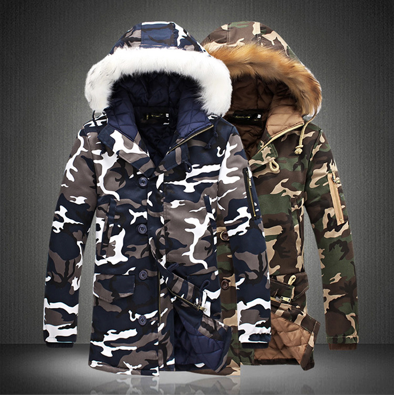 Fashion Camouflage Parkas Mens Military Medium long Winter Coat Thickening Cotton padded Winter Jacket Men With Fur Hood