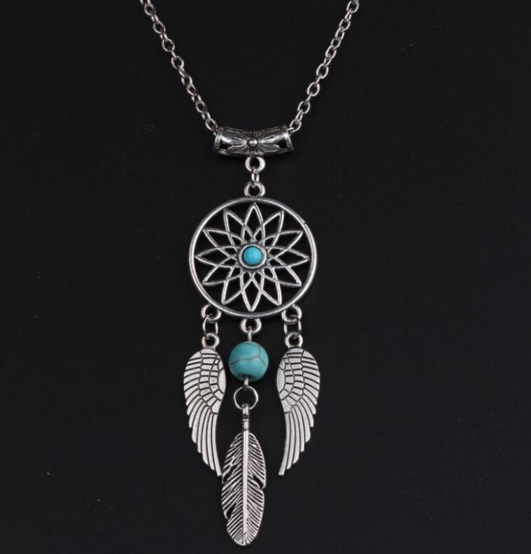 NEW Fashion Lotus Dreamcatcher Necklace Silver Dream Catcher & Beads Guardian Wings Pendant Necklaces Jewelry Birthday Gift