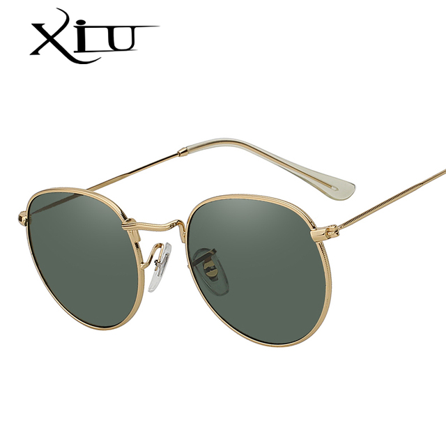 9f9b65792b XIU Oval Shaed Metal Sunglasses Men Women Brand Designer Mirror Lens Sun  Glasses Retro Vintage Luxury Quality Oculos UV400