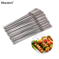 35cm Stainless Steel Barbecue Pin Flat Handle Outdoor Barbecue Baking Tool BBQ Fork Grill Accessories 20 pieces