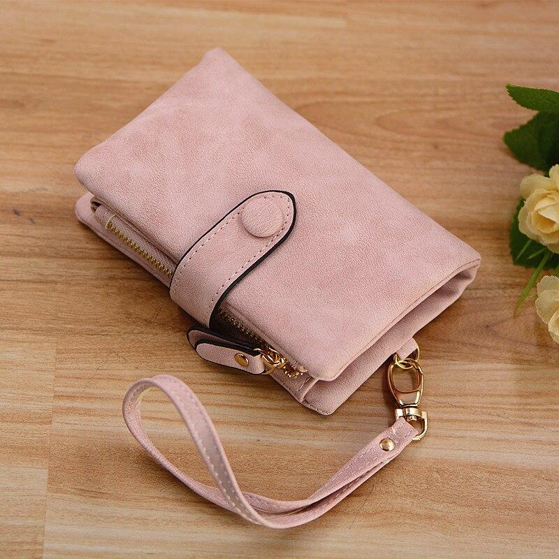 Designer women wristlet wallet with strap coin pocket vintage soft pink suede purse ladies folder money clips 6colors billetera Кошелёк