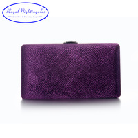 Grey Green Navy Blue Purple Velvet Fabric Hard Case Box Clutch Bag Evening Bags For Womens