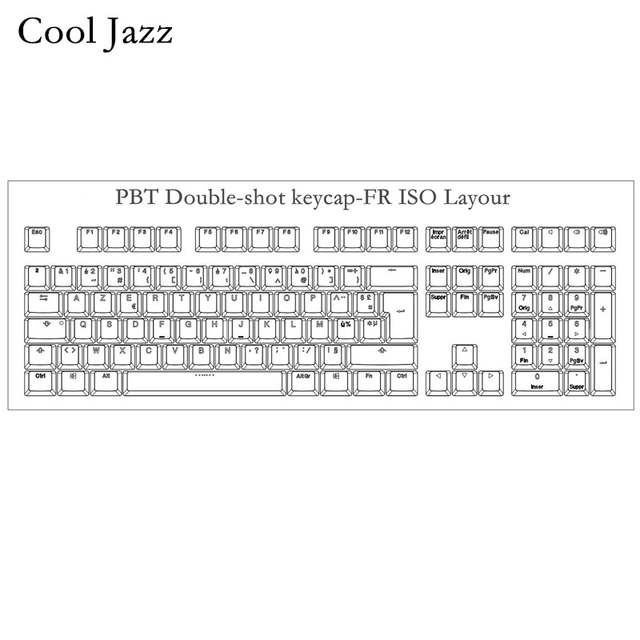 US $20 93 30% OFF|Cool Jazz 108 Keys Thick PBT Double shot backlit Keycap  FR ISO layout OEM Profile For MX Mechanical gaming Keyboard-in Keyboards