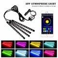4 unids Teléfono Bluetooth Coche de Control Interior RGB Tira Flexible de Luz Kit de Lámpara de Pie Atmósfera Lámpara Decorativa Android iOS de Control