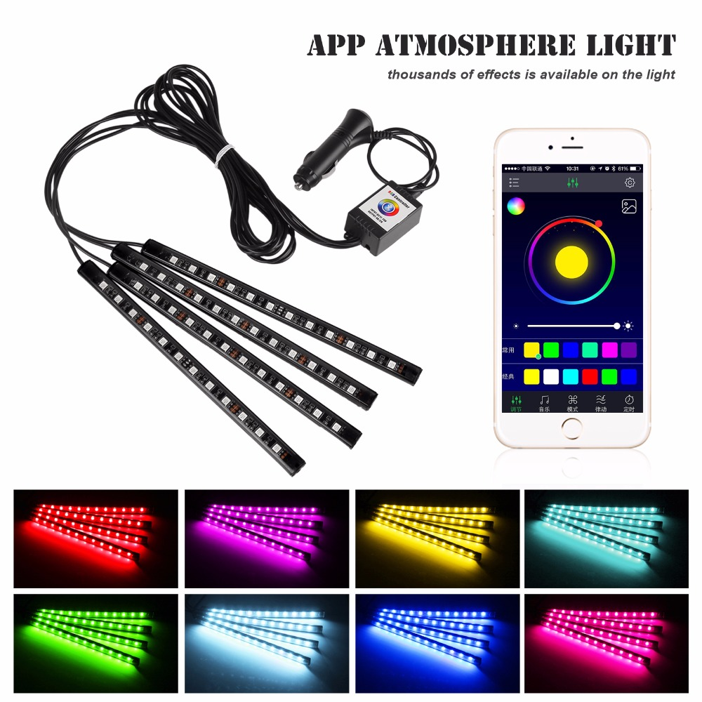 4pcs bluetooth phone control car interior rgb strip light. Black Bedroom Furniture Sets. Home Design Ideas