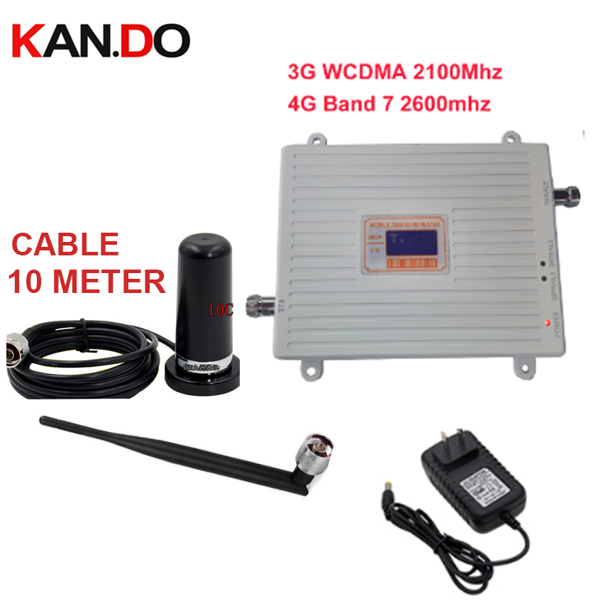 Home Use 3G 4G Booster Repeater Set W/ Antenna 3G WCDMA &4G Amplier BAND7 LTE 4G Booster 22dbm 65dbi 2600mhz 4G Booster Repeater
