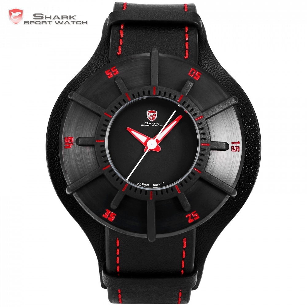 цена на Silky Shark Sport Watch 3D Craft Black Red Top Luxury Brand Watches Men Genuine Leather Strap Band Back Case Quartz-watch /SH483