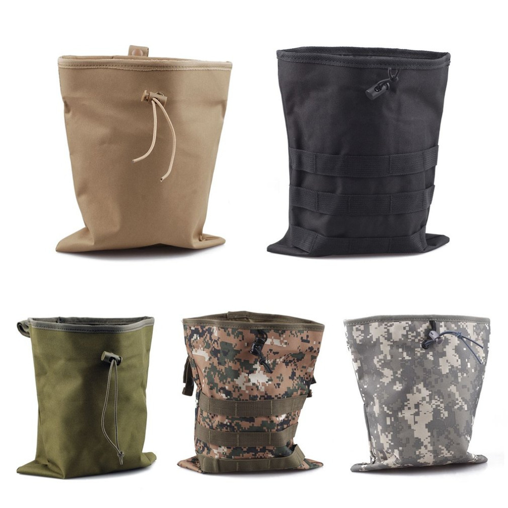 Military Airsoft Tactical Folding Bag Recovery Dump Pouch Outdoor Hunting Paintball Nylon Pouch With Molle Belt Loop Factory Direct Selling Price