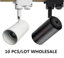 10pcs/lot High-quality COB LED Track Light 220V Black&White track lamp Housing rail lamps three lines CE RoHS without light bulb цена