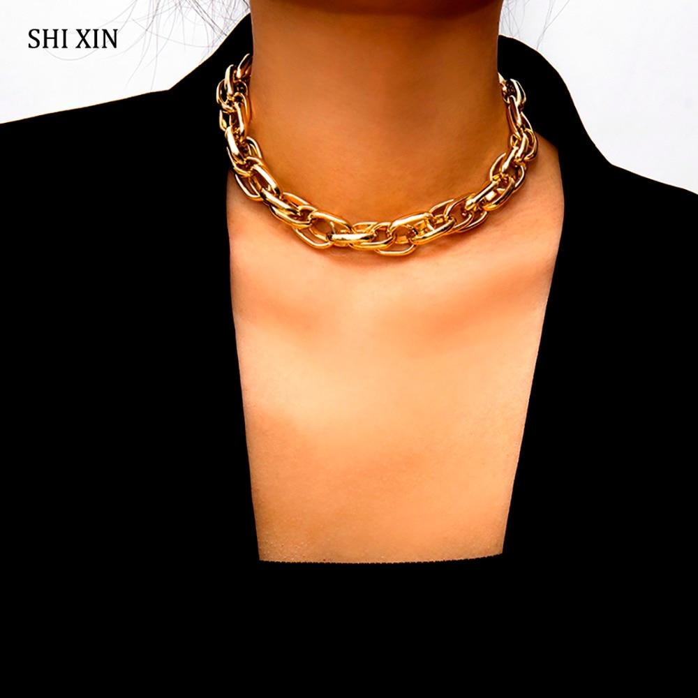 SHIXIN Punk Exaggerated Heavy Metal Big Thick Chain Choker Necklace Women Goth Fashion Night Club Jewelry Female Chocker Collier