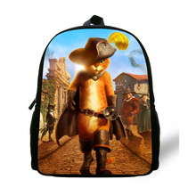 12-inch Children Cartoon Bag Puss in Boots Backpack School Bags For Boys Age 1-6 Mini Bag Kids Girls Bolsa Infantil Menina(China)