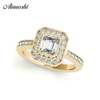 AINUOSHI Trendy 925 Sterling Silver Women Wedding Engagement Ring Halo 0.5ct Emeralded Cut Ring Aniversary Gifts anillo de plata