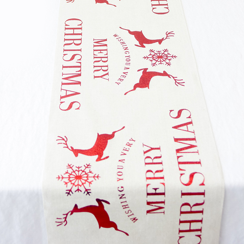 1 Pcs Panno Di Tabella Di Natale Runner Zerbino Tovaglia Di Natale Bandiera Casa Del Partito Decorativo Di Natale Babbo Natale Arazzo Rosso Runners Per La Tavola