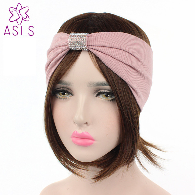 Fashion Women Solid Stretchy Cotton Wide Headband Hair Band turban with  Crystal for ladies b5041bd62a0