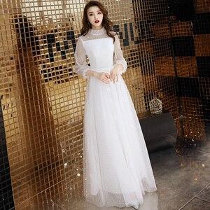 Image 2 - Seksi beyaz tül uzun abiye Vintage Polka Dot uzun kollu See Through akşam partisi törenlerinde zarif resmi kıyafeti yeni Arriva