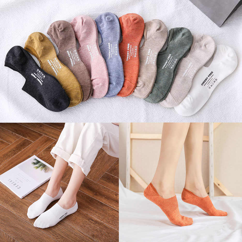 Summer Cool Candy Color Invisible Non-slip Low Cut Socks Fashion Women Casual Cotton Breathable Ankle Boat Socks