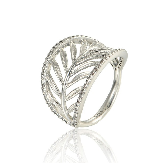 Authentic Sterling-Silver-Jewelry Palm Tree Wedding Ring with Cubic Zirconia 925 Silver Rings For Women Free Shipping