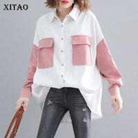 XITAO Plus Size Blouse Women Clothes 2019 Pocket Single Breasted Pocket Wild Joker Turn Down Collar Korea Fashion New ZLL4227
