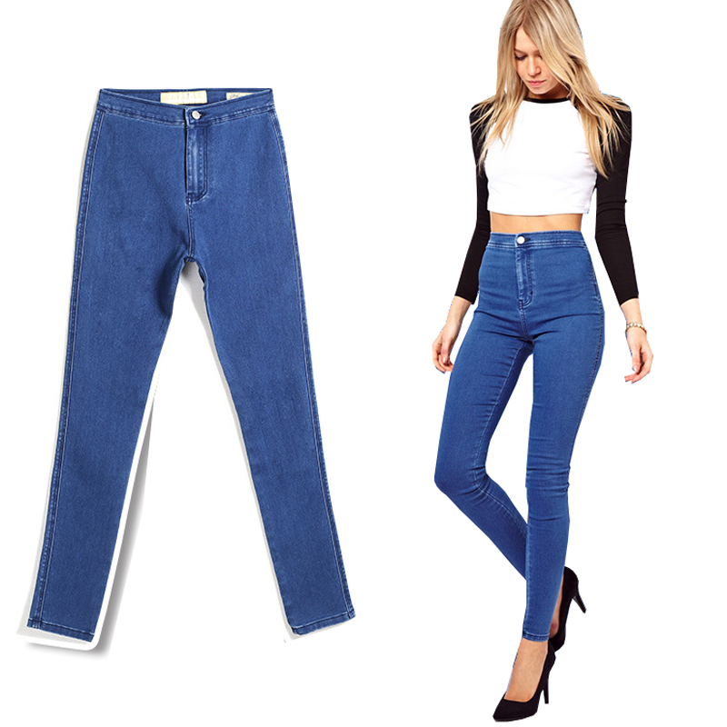 2017 Women Fashion Elastic Jeans Office Ladies Cotton Denim Skinny Pencil Pants Female Casual Work Trousers WJNAM01
