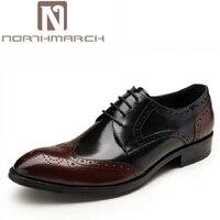 NORTHMARCH Oxfords Men Dress Shoes Brand Brogue Men Shoes Lace Up Wear Comfortable Men Wedding Shoes