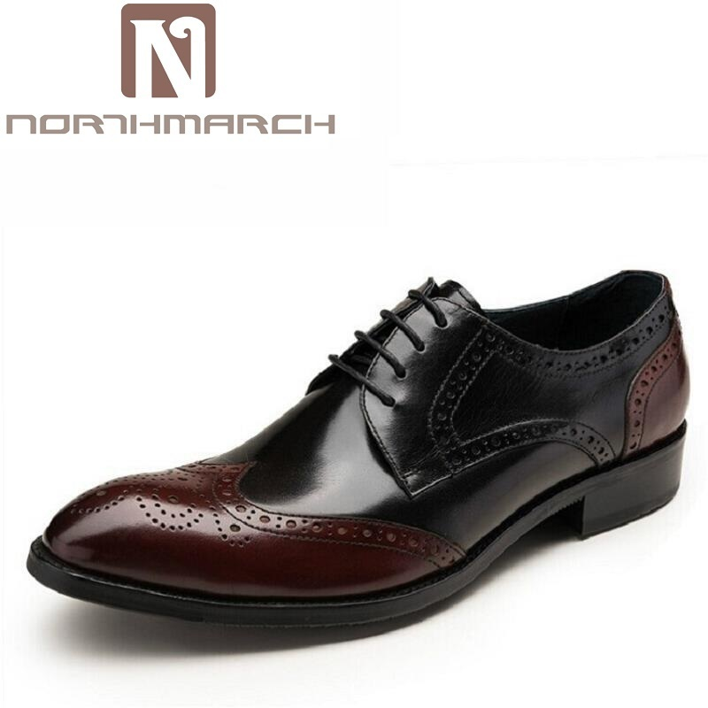 NORTHMARCH Oxfords Men Dress Shoes Brand Brogue Men Shoes Lace-Up Wear Comfortable Men Wedding Shoes Mixed Colors Luxury Product