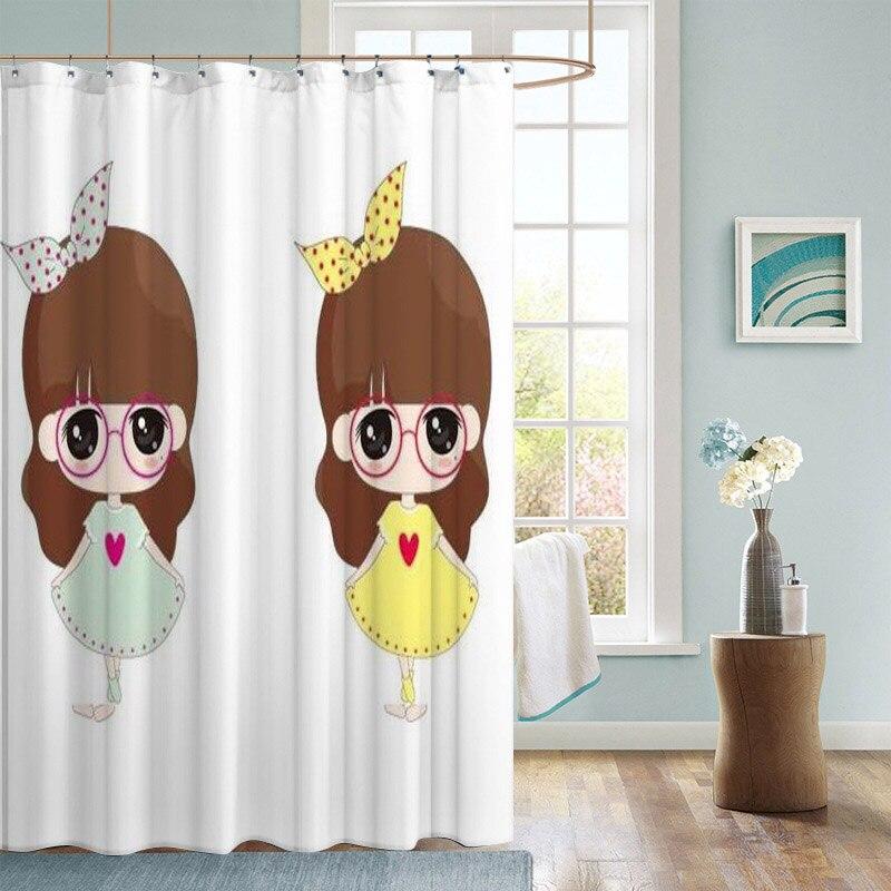 Belle anime filles rideau de douche meilleur beau rideau de bain rideau en polyester imperméable pour salle de bain YL-06