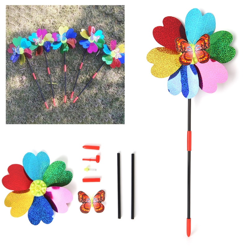 Windmill Kid Toys Butterfly Glow Decor Garden Ornaments Colorful Outdoor Spinner JUN-5A