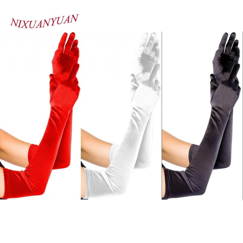 NIXUANYUAN 2016 Long Party Bridal Dance Gloves Opera White/Black/White Finger Wedding Gloves Satin