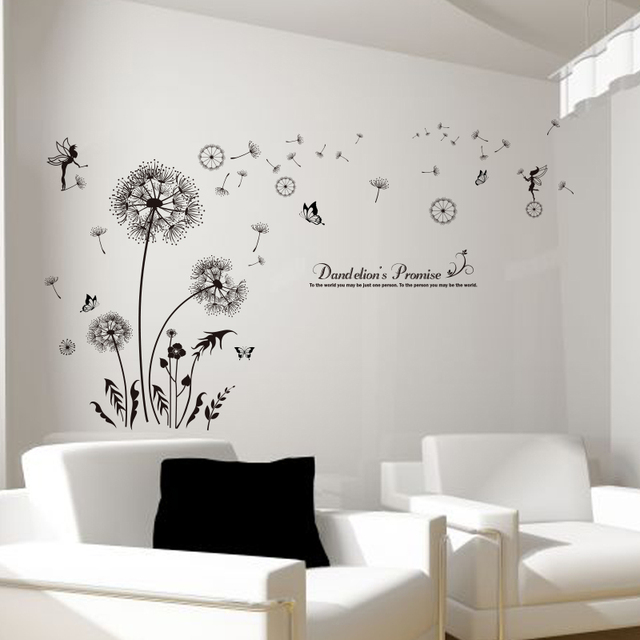 [SHIJUEHEZI] Black Dandelion Wall Stickers Vinyl DIY Flower Mural Art For  Living Room Sofa