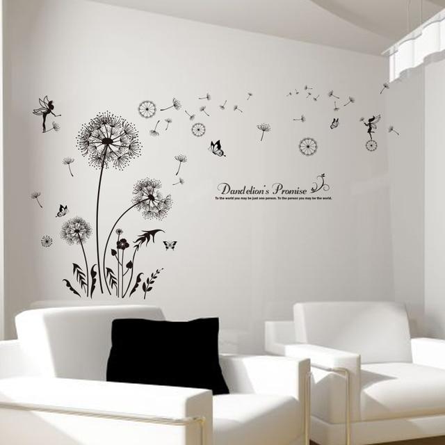 [SHIJUEHEZI] Black Dandelion Wall Stickers Vinyl DIY Flower Mural Art For  Living Room Sofa
