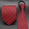 Mens Striped Necktie Tie Jacquard Woven Striped Ties Red Polyester Simple Business Zipper Ties 48*8 0037