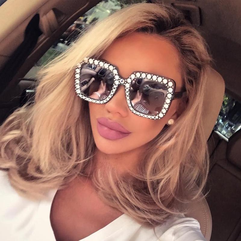 Crystal Women Sunglasses 2017 Retro Brand Desginer Square Oversize Sunglasses Sun Glasses Oculos de sol feminino Glasses women