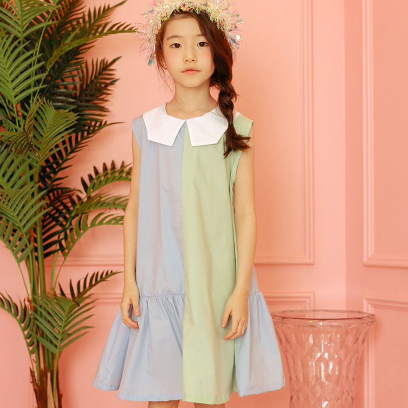 Summer 2019 Dresses For Girls Sleeveless Patchwork Clothes Cotton Princess Costume Teen Preppy Style Dress 5 6 8 10 12 14 15year in Dresses from Mother Kids