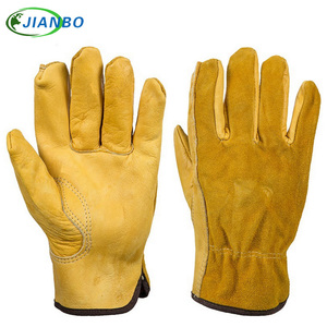Image 1 - JIANBO Leather Work Driver Gloves Mechanic Protection Working Safety Workers Welding Hunting Cowhide Motorcycle Gloves For Men