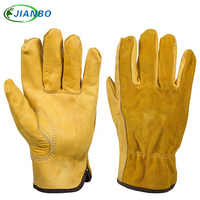 JIANBO Leather Work Driver Gloves Mechanic Protection Working Safety Workers Welding Hunting Cowhide Motorcycle Gloves For Men